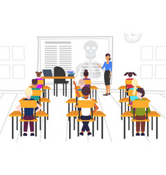 Pupils sitting desks looking at female teacher vector