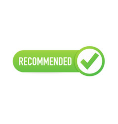 Recommend icon white label recommended on green vector