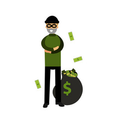 Robber character standing with folded arms and big vector