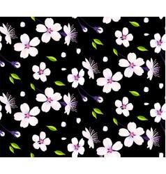 sakura flowers cherry blossom and leaves seamless vector image