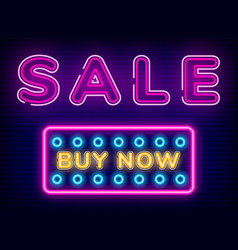 sale buy now button discount neon sign vector image