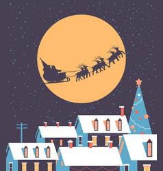 santa flying in sleigh with reindeers in night sky vector image