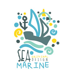 sea marine logo design summer travel and sport vector image vector image