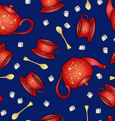 Seamless pattern pottery teapot and cup hand vector
