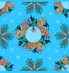 seamless pattern winter village landscape vector image