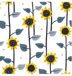 seamless pattern with flying cartoon bees vector image
