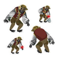 set fantasy zombie monkey isolated on white vector image