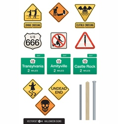 set of 12 halloween sign s vector image