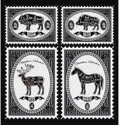 Set of postage stamps with boar bison deer horse vector