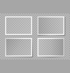 set white rectangle photo card frames vector image