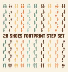 Shoes footprints colorful tracks set vector