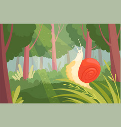 snails in wood slime slow moving on green grass vector image