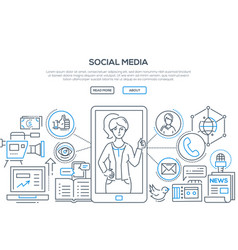 Social media - modern line design style vector