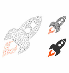 Space rocket launch mesh carcass model and vector