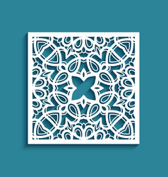 Square panel with lace pattern vector