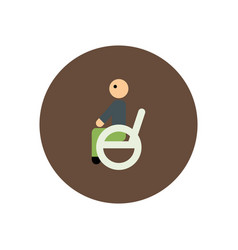Stylish icon in color circle man wheelchair vector