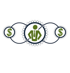 Successful businessman and leader creative logo vector