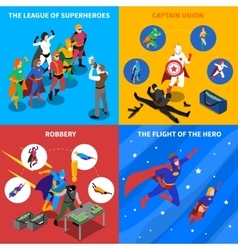 Superhero Concept Isometric Icons Set vector