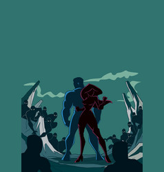 superhero couple back to back silhouette vector image