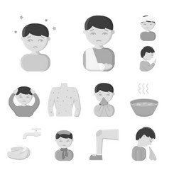 the sick man monochrome icons in set collection vector image