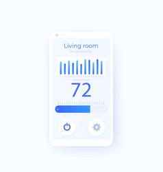 Thermostat app mobile ui design vector