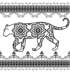 tiger with border elements in ethnic mehndi style vector image