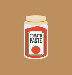 Tomato paste bottle in flat style vector