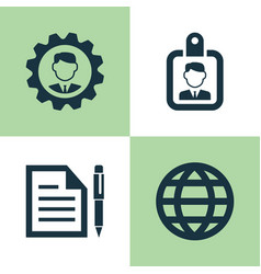 Trade icons set collection of id badge leader vector