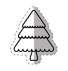 Tree pine christmas line vector