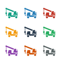 Truck with hook icon white background vector