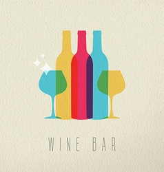 Wine bar restaurant icon concept color design vector image