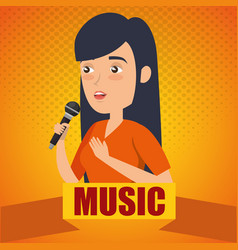 woman singing with microphone vector image