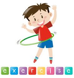Wordcard for exercise with boy playing hulahoop vector