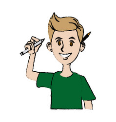 Young man character design programmer with pencil vector