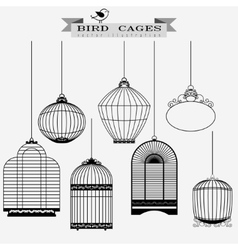 Bird cages set vector image