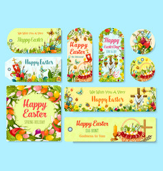 easter holiday symbols tag and greeting poster set vector image vector image