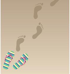 flip flops and foot prints vector image