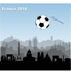 France cities skylines with soccer ball vector image