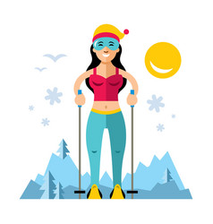 girl on skis flat style colorful cartoon vector image vector image