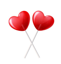 heart lollipop candy 3d valentine day sweet vector image vector image