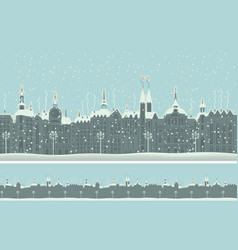 seamless ornament with old winter town with snow vector image