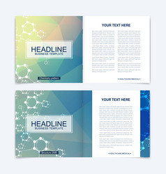 Templates for square brochure leaflet cover vector