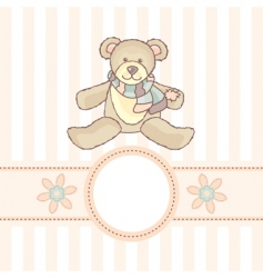 baby card with teddy bear vector image vector image