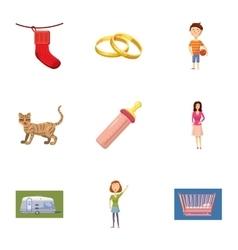 Family kid icons set cartoon style vector