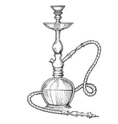 hookah engraving style vector image vector image