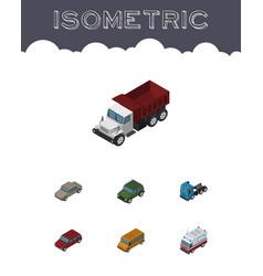 Isometric automobile set of autobus car freight vector