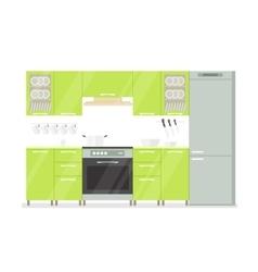 Modern interior kitchen room in green tones vector image vector image