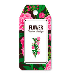 Peony pattern tag for flower shop vector