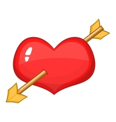 Red heart with arrow icon cartoon style vector image vector image