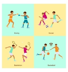 Sport people activities icon set vector image